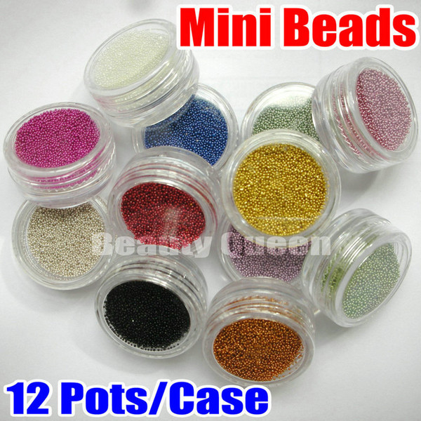 best selling 12 Color Mini BEADS Bean Bearing For 3D UV Gel Acrylic 3D Nail Art Glitter Decoration Tips Free Ship