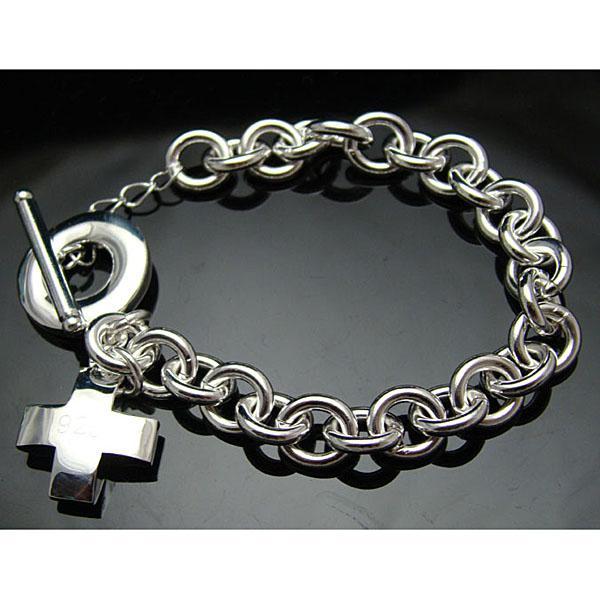 Partihandel - Retail Lägsta pris Julklapp, Gratis frakt, Ny 925 Silver Fashion Bracelet B69