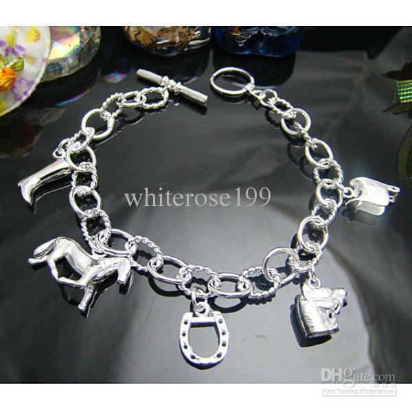 Vente en gros - Prix de détail le plus bas prix de Noël, livraison gratuite, nouveau bracelet de mode en argent 925 YH074