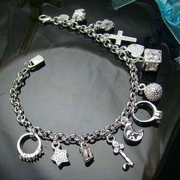 Venta al por mayor - Venta al por menor precio más bajo regalo de Navidad, envío gratis, nueva pulsera de plata 925 yBh144