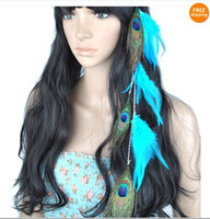 Wholesale Hair Feathers Grizzly Clip - Feather Hair Extensions With Peacock Feather Blue Grizzly Sanp Clip on