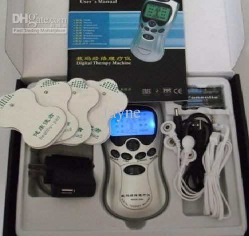 35 sztuk / partia Boże Narodzenie Prezent Dziesiątki Akupunktury Terapia Cyfrowa Maszyna +4 Pads + 4-Drogowy przewód elektrod