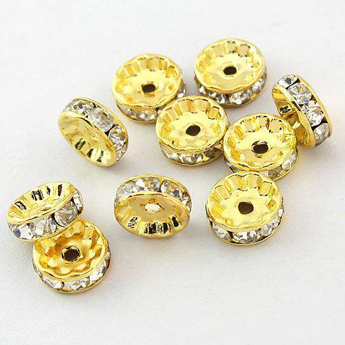 Freies Verschiffen HEISSER DIY / 6mm Weiß A Strass Kristall Spacer Perlen Schmuck Gold überzogen