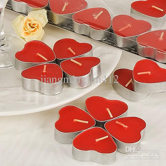 Heart Shaped Red Tealight Candles Set Of 7 Boxed Simple Wedding