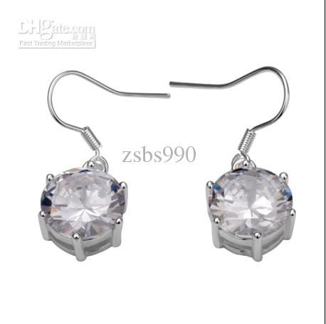Pendientes de diamantes nuevos de las mujeres calientes 925 joyería de plata de la manera 20 par / lote