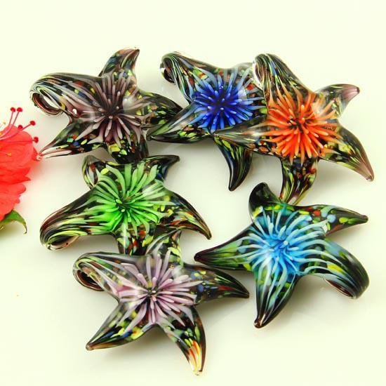 Fashion starfish flower Italian venetian lampwork blown murano glass pendants for necklaces jewelry hand made ladies' jewellery mup2978