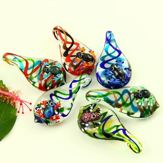 Lágrima rana italiano lampwork veneciano soplado cristal de murano colgantes para collares joyas joyería de moda barata Mup4990