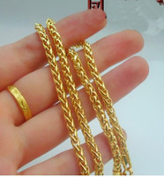 Wholesale Cheap 24k Gold Chains - 6%off!2015new!cheap!Wedding jewelry, fashion jewelry,Men twist hollow gold necklace! 4MM 24K gold plated fine!