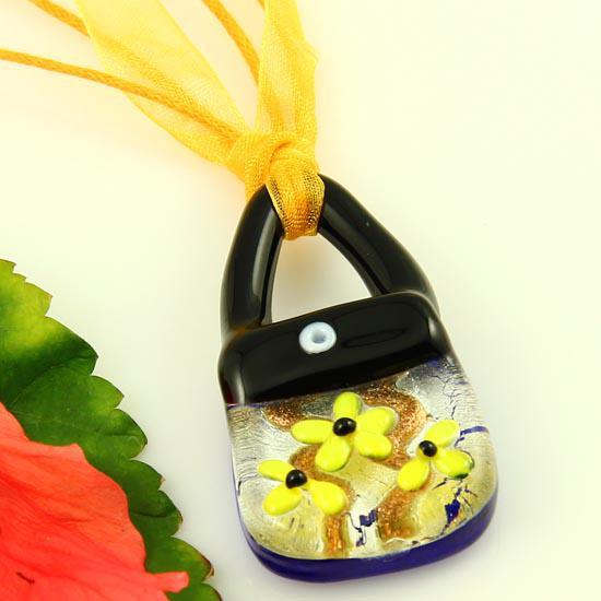 Schöne Handtasche Splitterfolie italienischen venezianischen Murano Glas Anhänger für Halsketten billig Modeschmuck Mup2065 geblasen