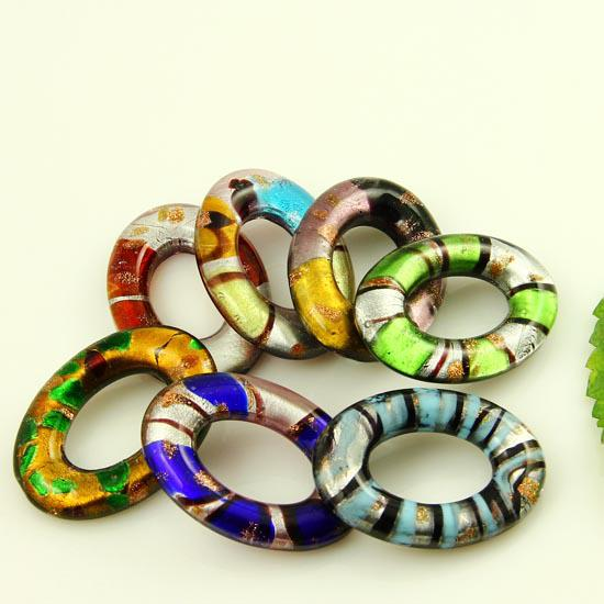 Foil oval Italian venetian lampwork blown murano glass pendants for necklaces jewelry cheap china fashion jewelry handmade jewelry Mup2085