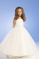 blumenmädchen kleid trägerlos weiß großhandel-Für 4 10 Jahre alt 2014 Blumenmädchen Kleider mit A-Line Liebsten Satin White Blumenmädchen Kleid Kinder Brautjungfer Kleider N99