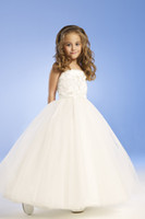 Wholesale Old Girls Dresses - For 4 10 Years Old 2014 Flower girl dresses with A-Line Strapless Satin White Flower Girl Dress Children Bridesmaid Dresses N99