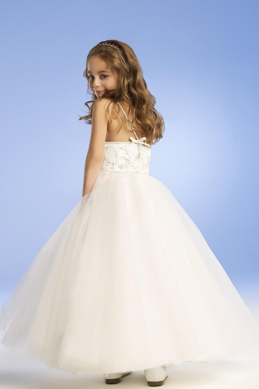 Pour 4 10 ans 2014 robes de fille de fleur avec A-ligne bretelles en satin blanc fille fleur robe robe demoiselle d'honneur enfants N99