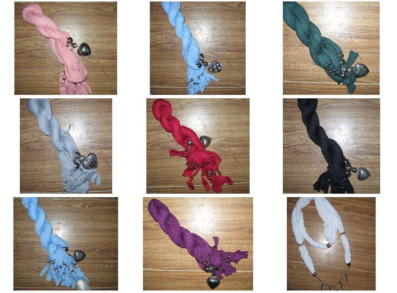 Zwykły stały kolor wisiorek szalik szyi szaliki biżuteria naszyjnik pendantscarf 14 sztuk / partia # 1738