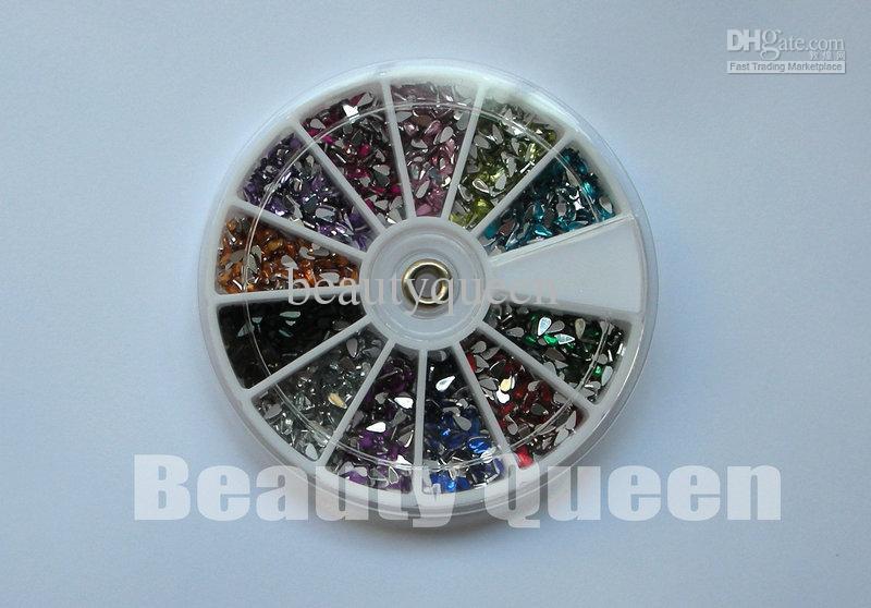 Teardrop 2.0 mm Rhinestone Glitter Nail Art beads Acrylic Tips acrylicstone in Wheel