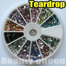 Wholesale Teardrop Rhinestones Nails - 1800pcs 12color Teardrop 2.0 mm Rhinestone Glitter Nail Art beads Acrylic Tips acrylicstone in Wheel