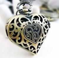 Wholesale Heart Shaped Watch Necklace - Heart shaped Antique quartz pocket watches necklace ,christmas gift 5pcs   lot 2173