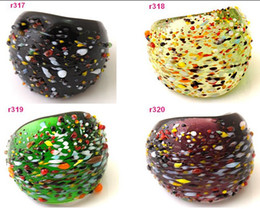 Band Paint Canada - multicolor ,yeallow, blue handwork painting polychrome speckle Murano Lampwork Glass ring r316-320