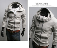 Wholesale Rider Style Jacket - Korea Style Men's zipper Light Grey Hoodie Rider Jacket Coat Sweat Shirt Size:M L XL XXL D35