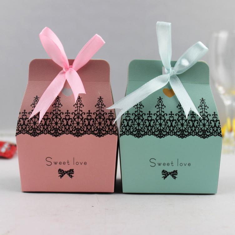 Gratis frakt-grossist-rosa julparty favör box presentförpackning godis box dekor-hot sälja