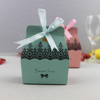 Wholesale Sell Candy - Free Shipping-Wholesale-50pcs Blue Christmas Party Favor Box Gift Box Candy Box Decor-Hot Sell
