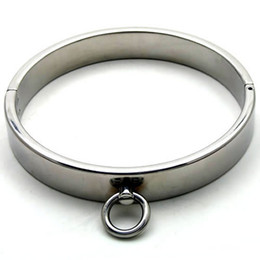 Wholesale Male Stainless Steel Ankle Cuffs - Male Luxury Stainless Steel Heavy Duty Collar   Thick Iron Locking Collar Mirror Polished