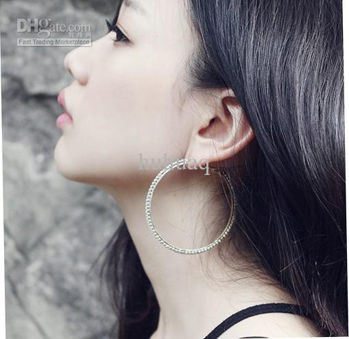 Mode Grand Cercle Boucles D'oreilles 925 Argent Cristal Brillant Boucle D'oreille Meilleur Comme Cadeaux Femmes Hoop 30mm ~ 70mm