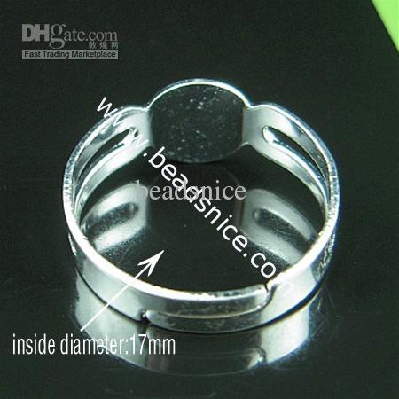 Beadsnice Järnjusterbar ringbas med 8x7.5mm Pad Ring Blanks för kostym smycken ID 4831