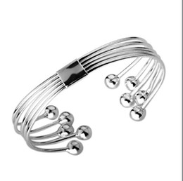 Wholesale Brass Plated Wire - Network selling 925 silver bead bracelet natural simple five-wire 10 Piece   Lot