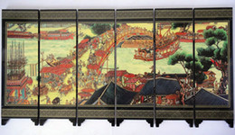 Small Chinese Screen Home Decorative Screen 6 flap Wood lacquer Riverside Screens 1pcs mix Free