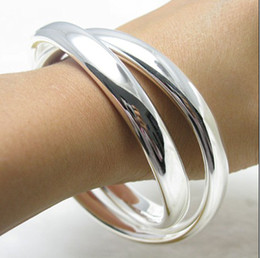 double top plate 2019 - Factory Price Top quality 925 sterling silver plated double ring bangles fashion jewelry free shipping 5pcs lot cheap do