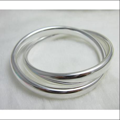 Fabrikspris Toppkvalitet 925 Sterling Silver Plated Dubbel Ring Bangles Fashion Smycken Gratis frakt /