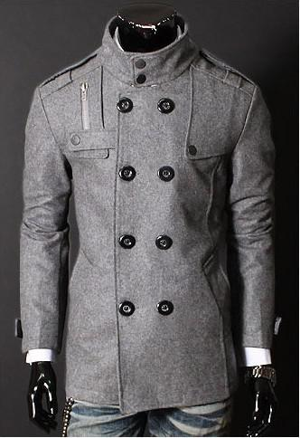 Men's Grey Winter/Autumn Slim Double Breasted Stand Up Collar ...