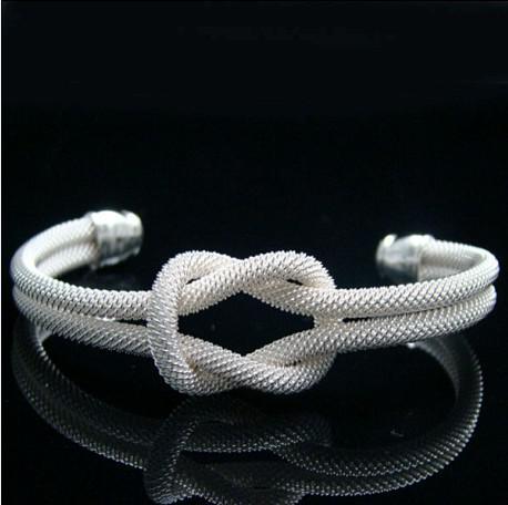 De trend van netto nieuwe 925 zilveren knoop armband als een geschenk voor 10 stuk / partij