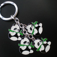 Wholesale Key Panda Free Shipping - Hot sell key ring Zinc alloy keychain with 4 panda charms, 50pcs lot, free shipping(CK0072)