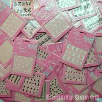 diseños de adhesivos de uñas acrílicas al por mayor-Al por mayor - 24 Unids / lote 3D Nail Art Sticker Set Diseño de la mezcla de flores de encaje Heart Sex Tie acrílico Tip Calcomanía Decoración Moda Nuevo GRATIS ENVÍO