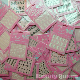 Wholesale Heart Acrylic Nails - Wholesale - 24 Pcs Lot 3D Nail Art Sticker Set Mix Design Lace Flower Heart Sex Tie Acrylic Tip Decal Decoration Fashion New FREE SHIP
