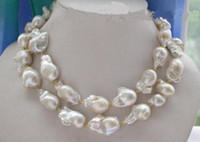 """Wholesale Strand Sterling Silver Necklace - New 33"""" 22-23mm BAROQUE WHITE KESHI REBORN PEARL NECKLACE"""