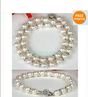 Nueva NATURAL 8-9mm Perlas Akoya BLANCO pulsera del collar