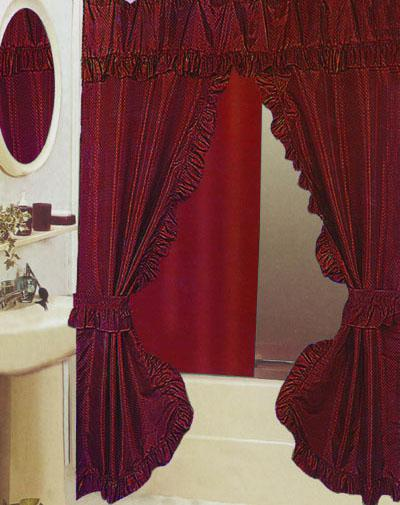 Brand New Elegant Double Swags Shower Curtain Wine Red 102150  Double Swag Shower Curtain