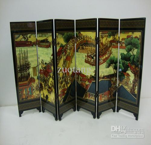 2018 Small Chinese Style Screen Home Decor Screen 6 Flap Wood