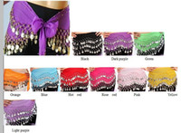 Wholesale Belly Dance Coin Scarfs - 12 Colors 3 Rows with Coins Belly Egypt Dance Hip Skirt Scarf Wrap Belt Costume Stage Wear