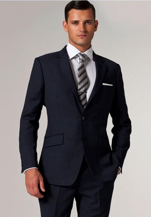 2017 Suits High Quality Men Suit Navy Plaid Suits Custom Made ...