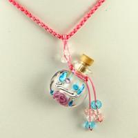 glasflasche halskette charme großhandel-Murano Glas kleine Wunsch Flasche Charme Anhänger Halsketten leere Vials Halsketten für Asche Vintage Parfüm Flasche Anhänger Halsketten