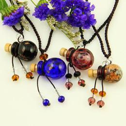Wholesale Wholesale Glass Bottle Pendants - venetian murano glass pendants essential oil diffuser necklaces pendant aromatherapy pendant vintage perfume bottle pendant necklaces