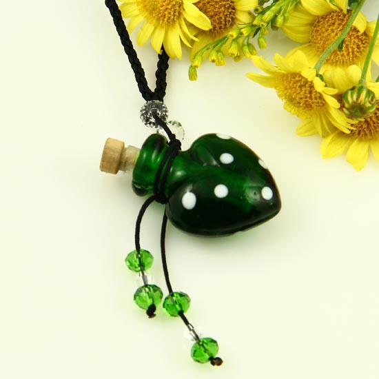 murano lampwork glass pendants aromatherapy pendant necklaces jewelry perfume vial bottle pendants essential oil diffuser necklace Mun011