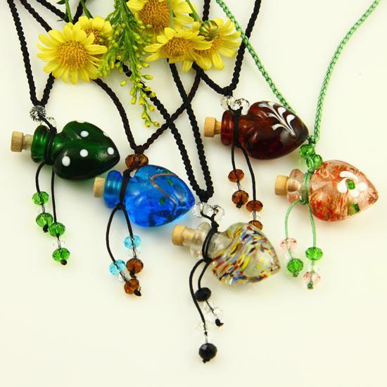 Murano Lampwork Glas Pendants Aromaterapi Hängsmycke Halsband Smycken Parfymflaska Flaskhängen Essential Oljediffusor Halsband Mun011