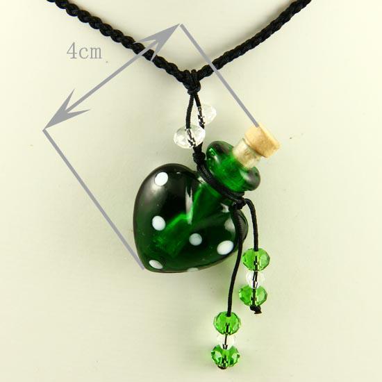 murano lampwork pendentifs en verre aromathérapie pendentif colliers bijoux parfum flacon bouteille pendentifs huile essentielle diffuseur collier Mun011
