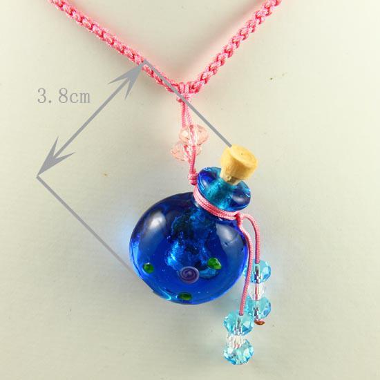 Pendentifs d'aromathérapie ronds colliersmall souhaite bouteille collier pendentif en gros fournisseur italien verre de murano avec des bijoux de fleur Mun013