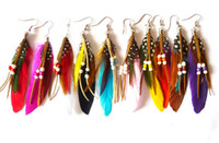Wholesale Mix Dangling Feather Earring - fashion Indian Bohemian feather earrings 10cm multicolor 24pairs mix cheap wholesale